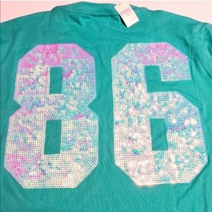 VS PINK bling shirt sequin short sleeve